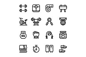 Workout, Fitness, Gym Icons Pack 1