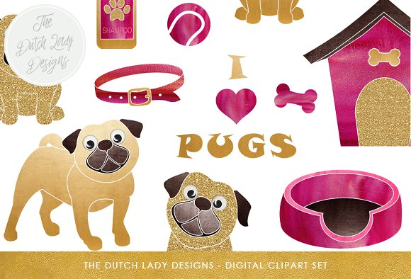 Pug Dog Accessories Clipart Set