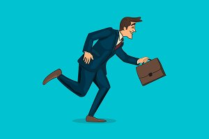 Running businessman with briefcase.