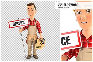 3D Handyman with Service Sign