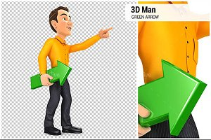 3D Man Holding Green Arrow