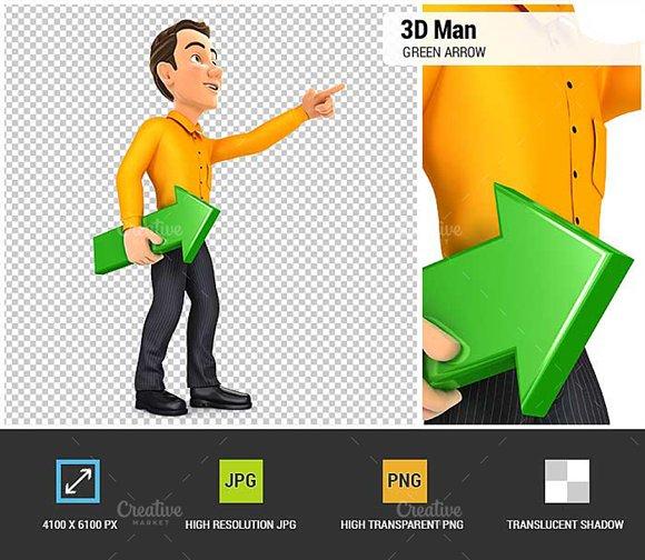 3D Man Holding Green Arrow