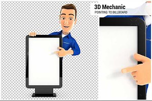 3D Mechanic Pointing to Billboard