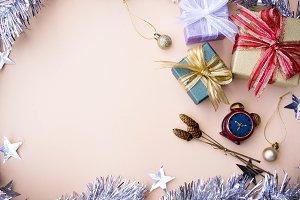 gift box flat lay background