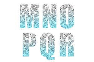 Beautiful trendy glitter alphabet letters with silver to blue ombre