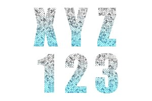 Beautiful trendy glitter alphabet letters and numbers with silver to blue ombre