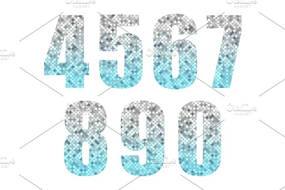 Beautiful Trendy Glitter Alphabet Numbers With Silver To Blue Ombre
