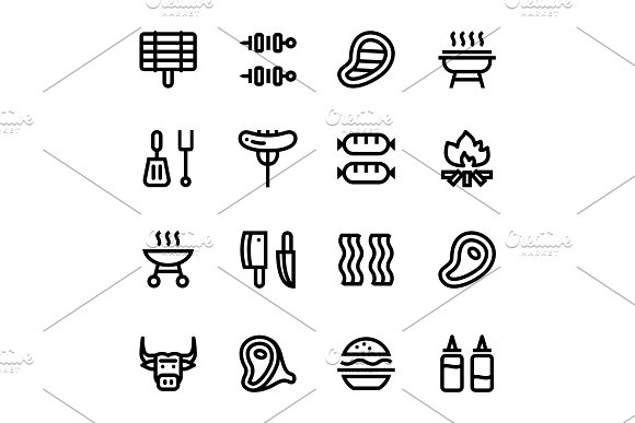 Barbecue, Grill, Meat Icons Pack 1