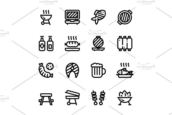 Barbecue, Grill, Meat Icons Pack 2