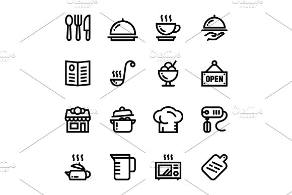 Restaurant, Cooking Icons Pack 1