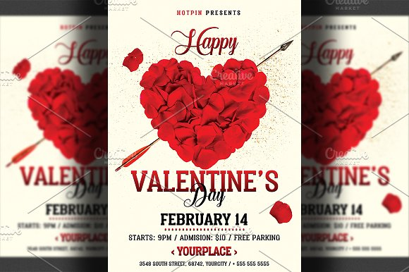 Valentines day flyer flyer templates creative market valentines day flyer flyers maxwellsz