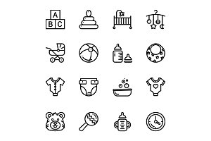 Baby, Care, Toys Icons Pack 1