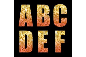 Beautiful trendy glitter alphabet letters with gold to red ombre