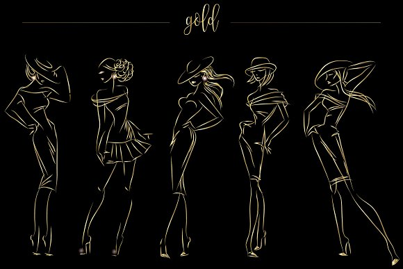 Fashion silhouettes for logo & brand in Illustrations - product preview 1