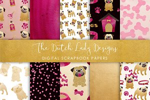 Pug & Dog Pattern Scrapbook Paper