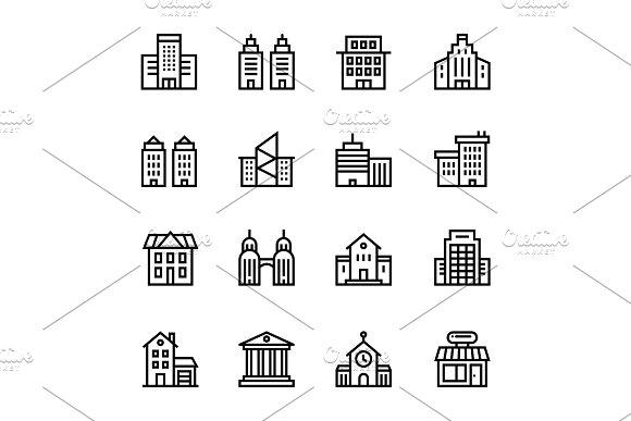 Building House Icons Pack 1
