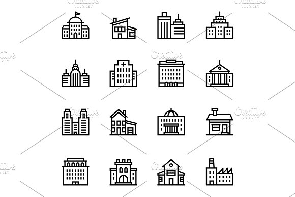 Building, House Icons Pack 2