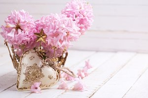 Pink hyacinths and heart
