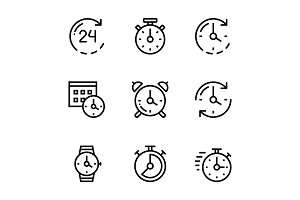 Set of Time, Clock, Watch Pack 1