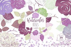 Burgundy & Mint Rose Graphic Set