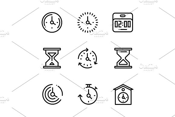 Set Of Time Clock Watch Pack 2