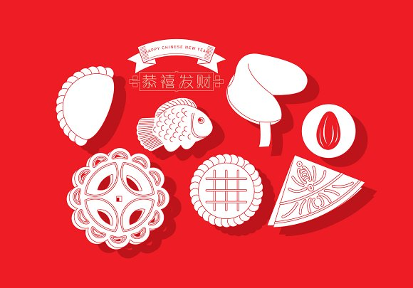 Chinese New Year Cookies Vector