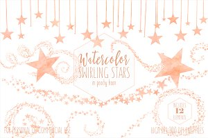 Peach Watercolor Star Clipart