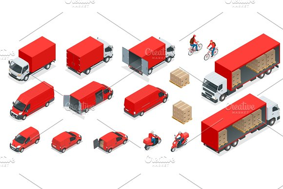 Isometric Logistics Icons Set Of Different Transportation Distribution Vehicles Delivery Elements Cargo Transport Isolated On White Background