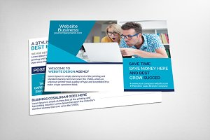 Website Design Business Postcard Psd