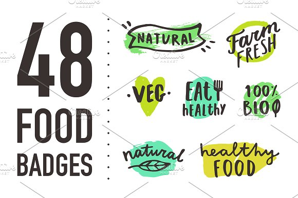 Big set of hand drawn food badges.