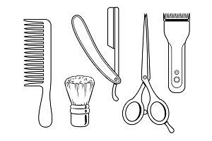 Barber tools coloring book vector