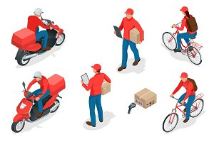 Isometric delivery service or courier service concept. Delivery Workers or courier. Vector illustration