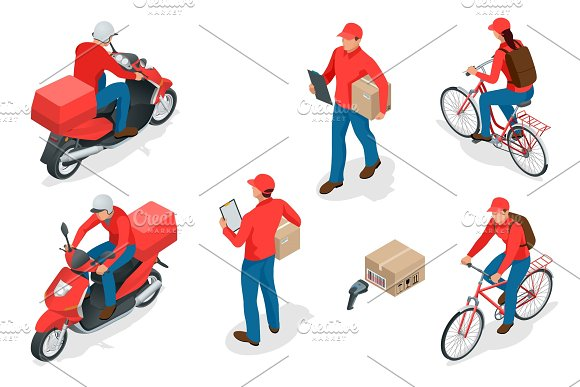 Isometric Delivery Service Or Courier Service Concept Delivery Workers Or Courier Vector Illustration