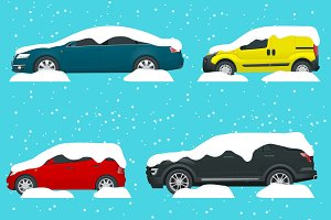 Cars covered in snow on a road during snowfall. Snow storm. Lots of cars. Cold spell concept