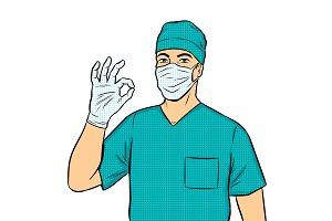 Doctor shows ok gesture pop art vector