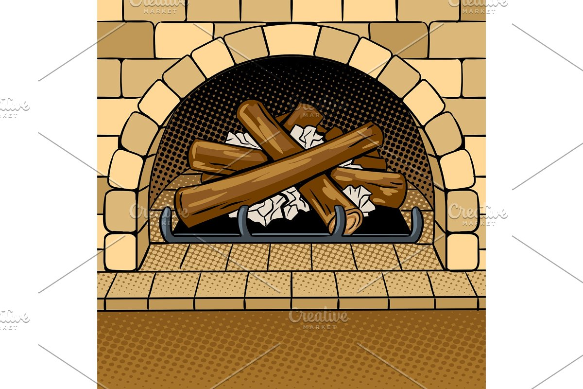 Fireplace pop art vector illustration