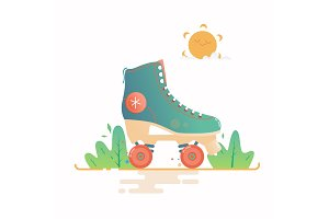 Roller skate vector illustration isolated on a white background