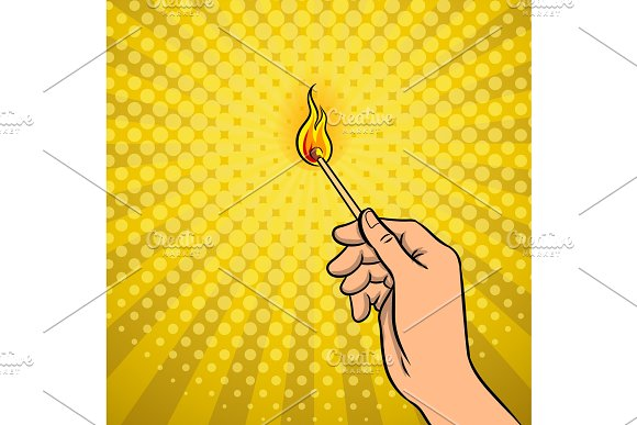 Hand With Burned Match Pop Art Vector Illustration