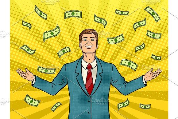 Businessman And Money Rain Pop Art Vector