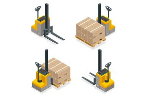 Isometric vector Compact Forklift Trucks isolated on white. Storage equipment icon set. Forklifts in various combinations, storage racks, pallets with goods for infographics.