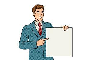 Businessman holds poster pop art vector