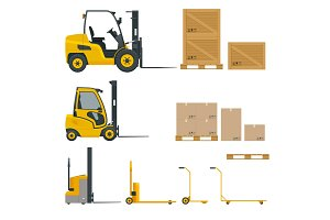 Set of Orange Forklifts in various combinations, storage racks, pallets with goods for infographics