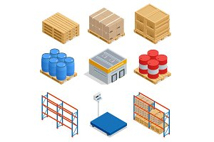 Isometric set of Storage equipment isometric icons. Shipping vector icons with boxes, container and warehouse shelves with boxes. Vector flat illustration
