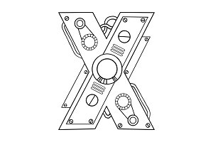 Mechanical letter X engraving vector illustration