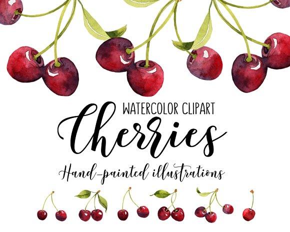 Cherries Watercolor Clipart