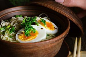 Instant noodles with boiled egg.