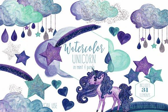Purple Navy Blue Rainbow Unicorn