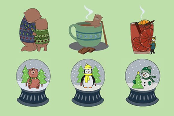 Winter animal illustrations