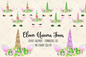 Clover Unicorn Faces Clipart