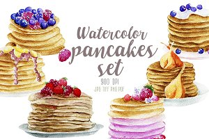 Watercolor 6 pancakes set